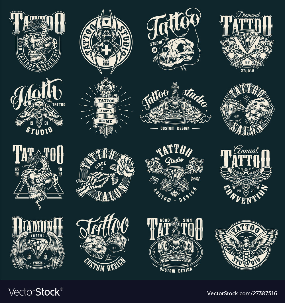 Vintage tattoo salon emblems