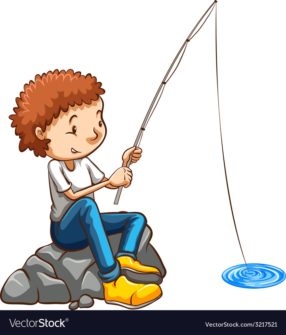 A simple drawing of a man fishing vector image