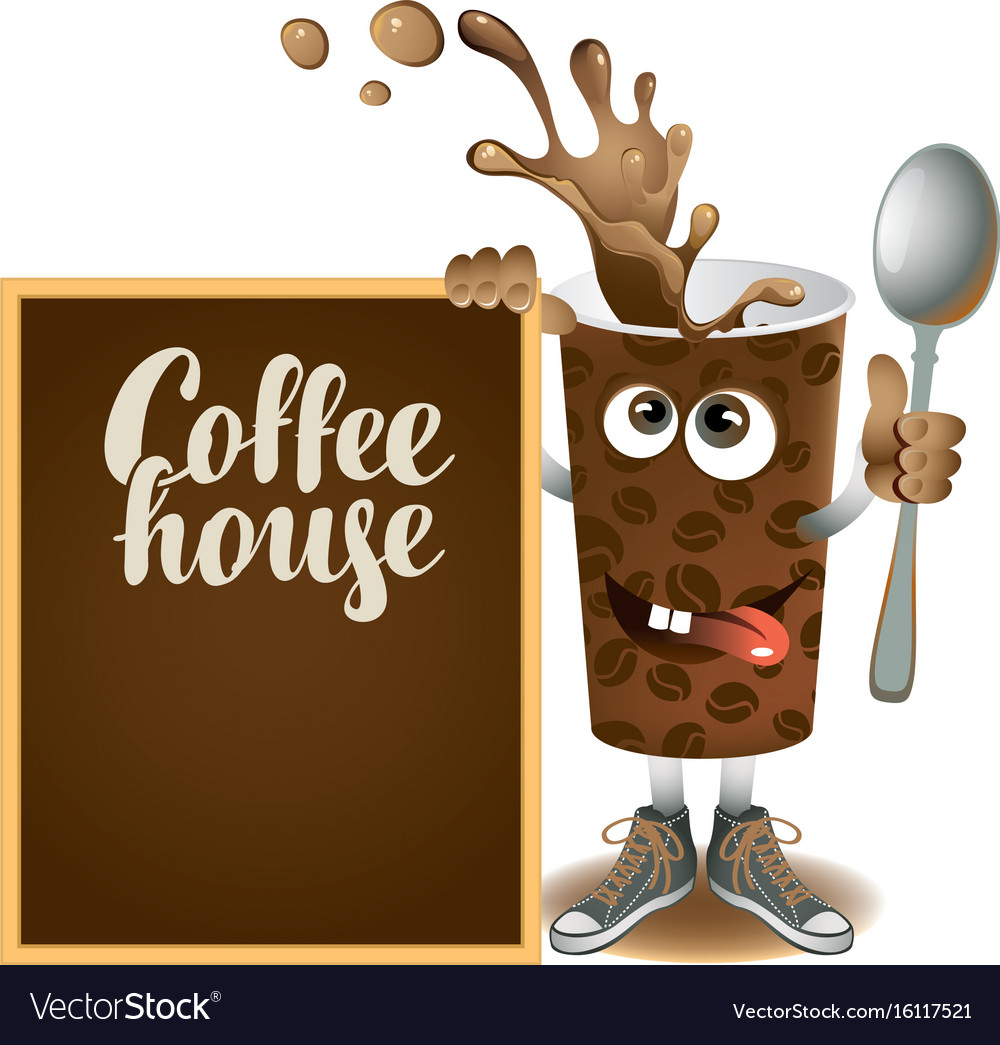 Banner with cheerful cup of coffee and blackboard