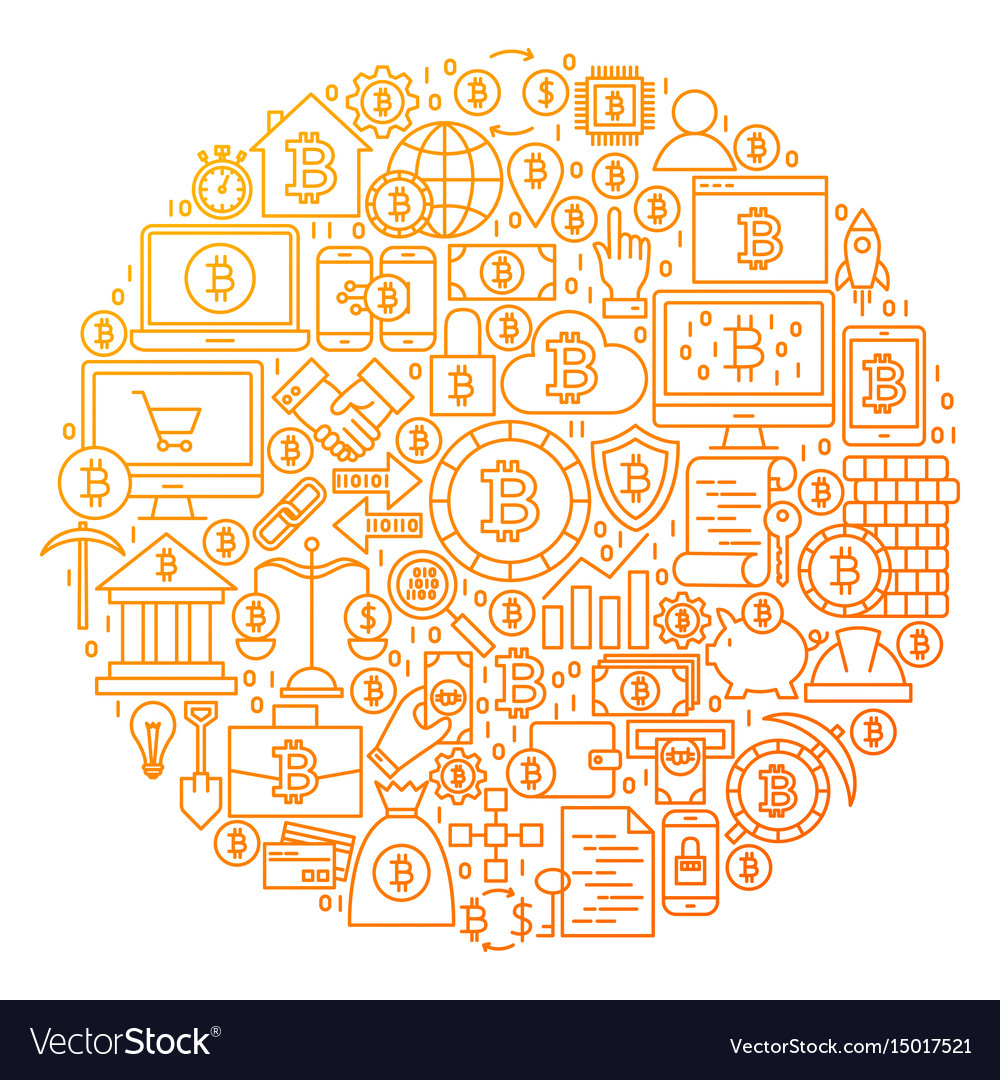 Bitcoin line icon circle design vector image