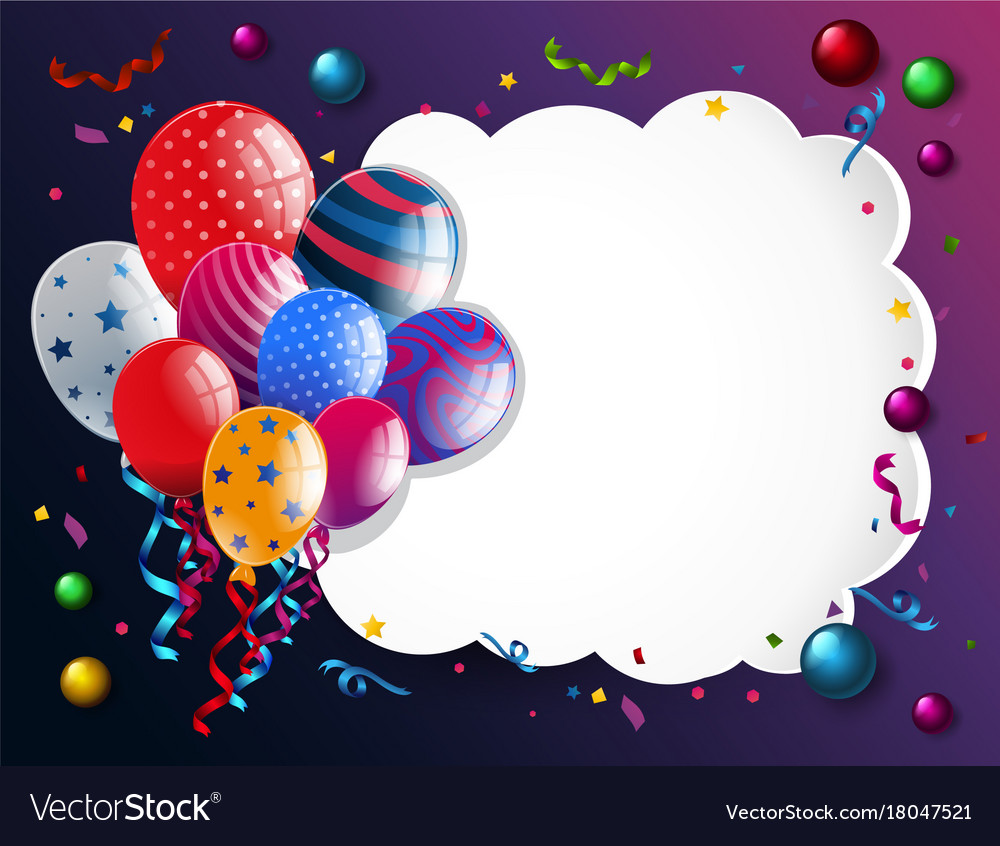 Border template with colorful balloons Royalty Free Vector