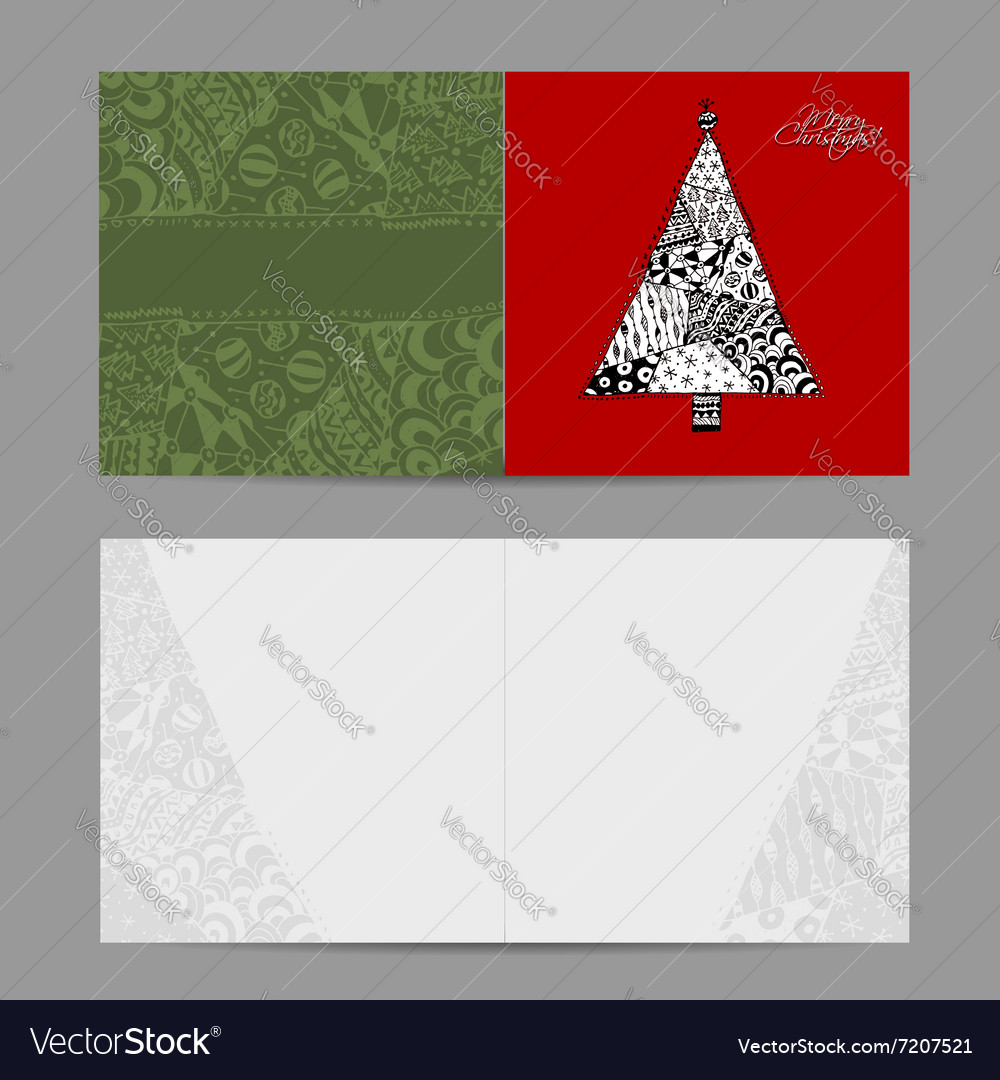 Christmas card doodle pattern tree for your