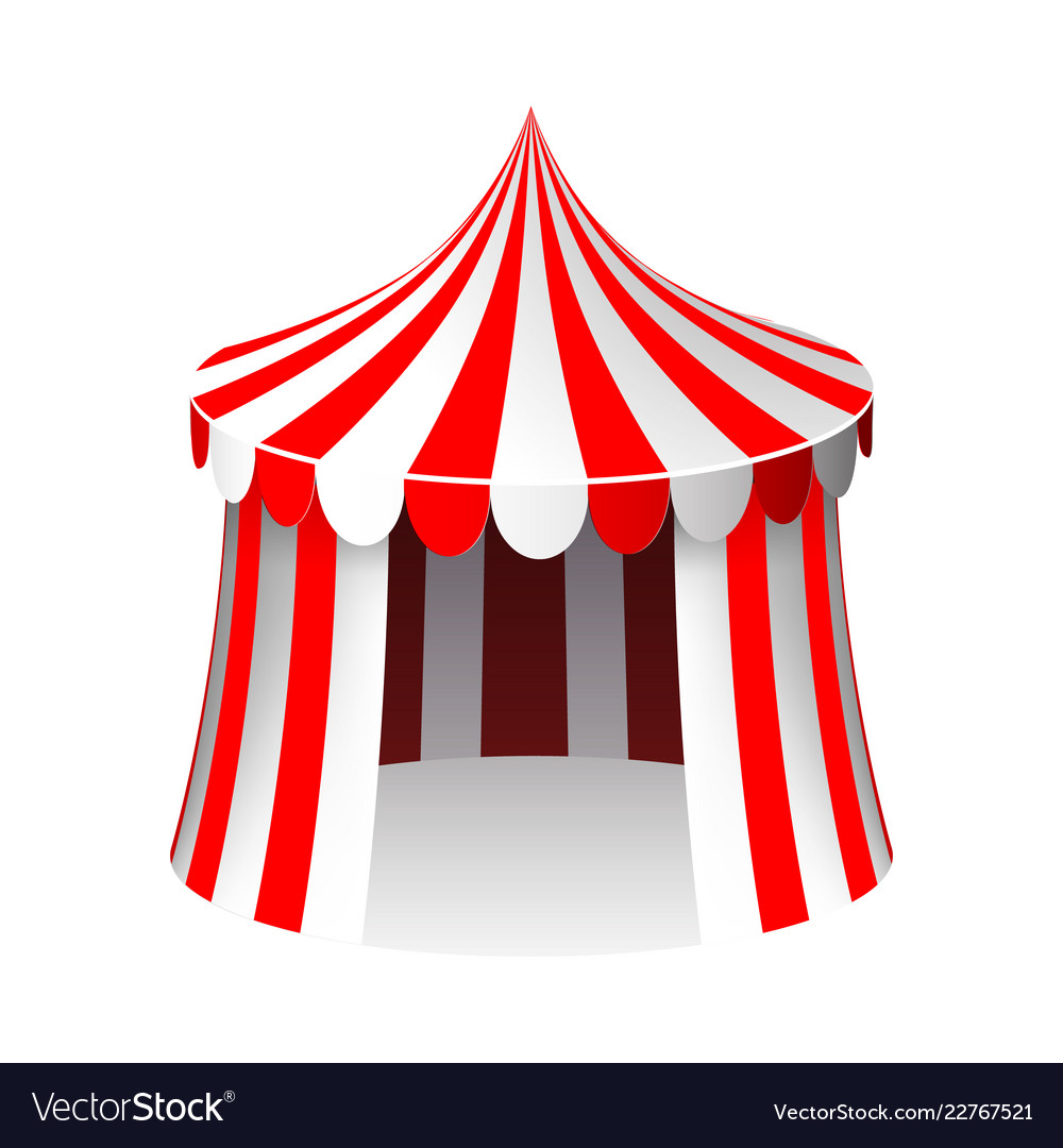 Circus tent isolated 3d realistic cartoon design