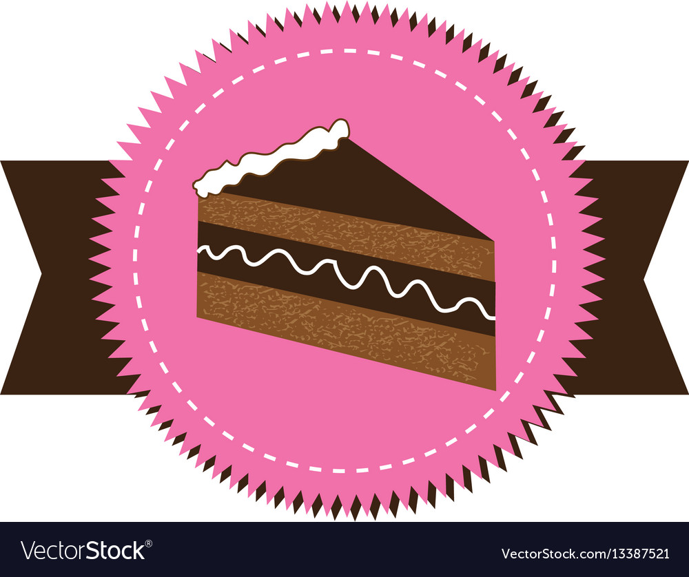 Colorful stamp sticker with piece of cake with