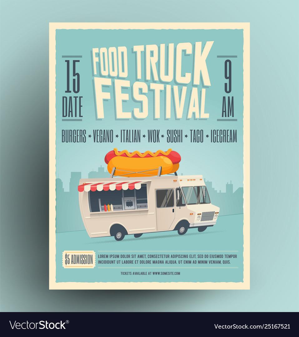 Food truck festival poster flyer