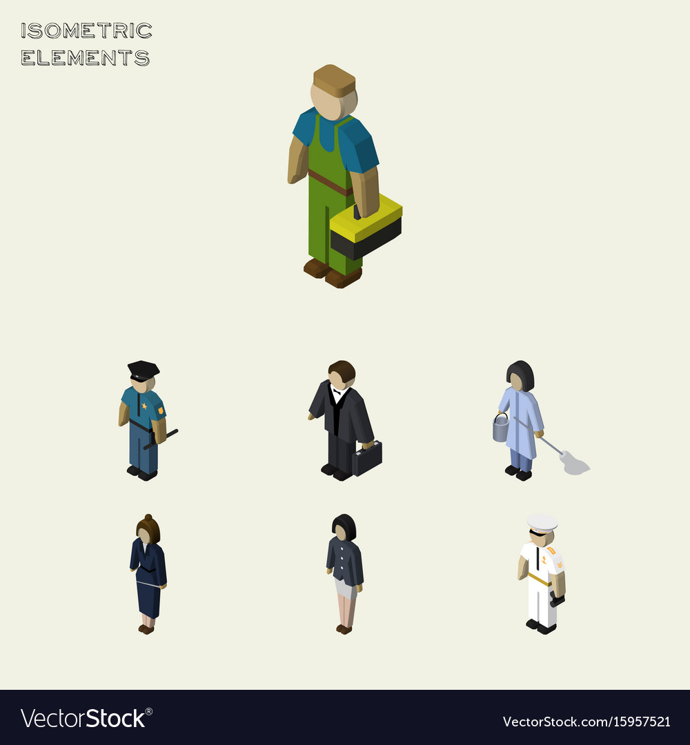 Isometric human set of girl seaman housemaid and