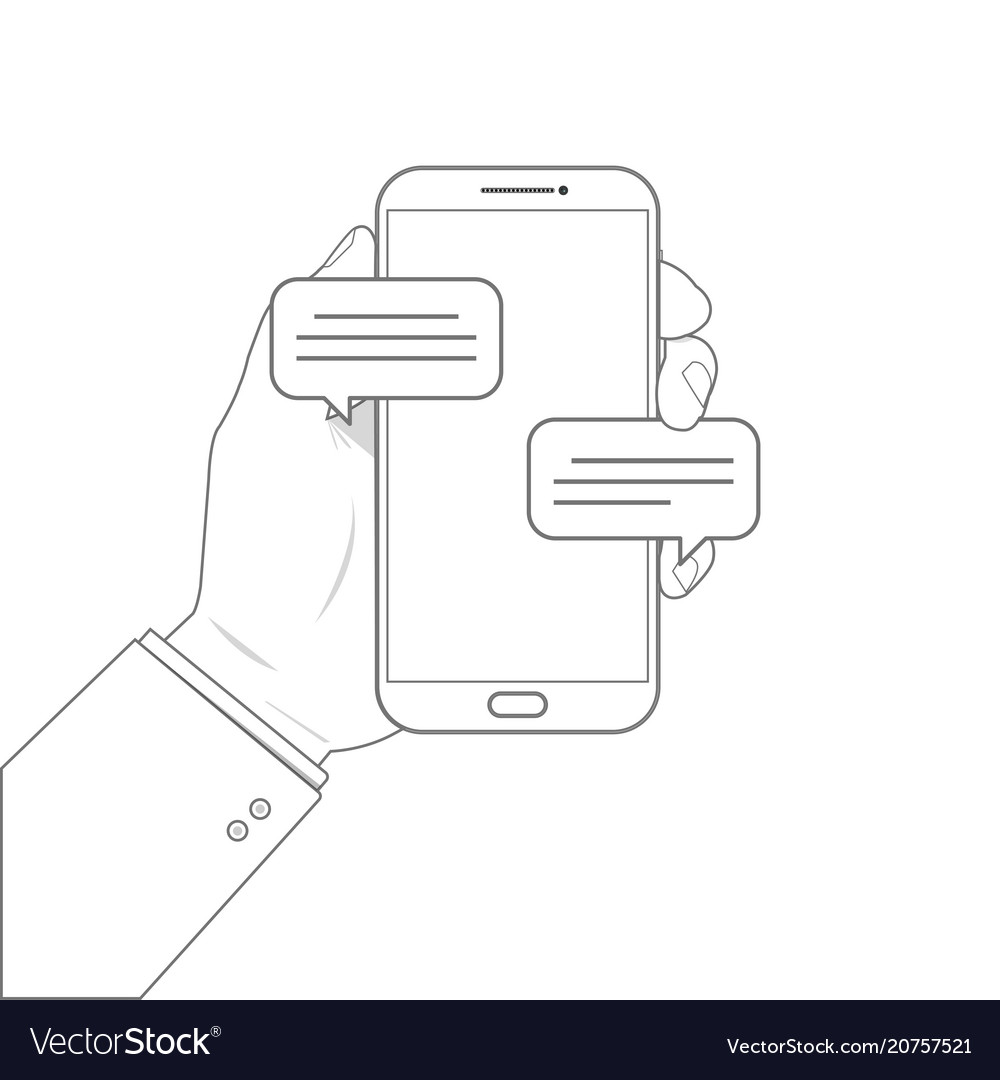 Outline drawing mobile phone chat message