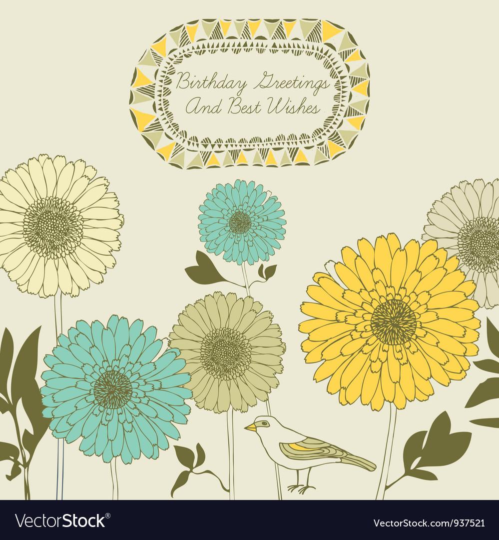 Retro sunflower birthday card