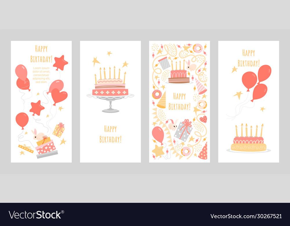 Set birthday greeting cards
