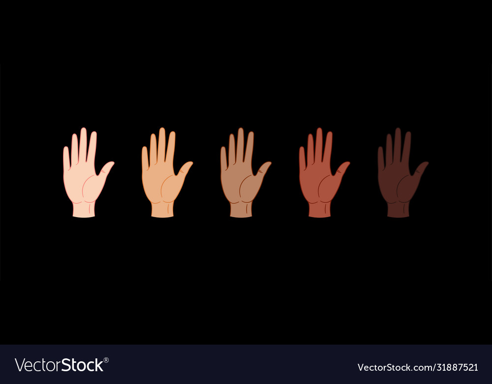 Stop racism hands with different skin colors