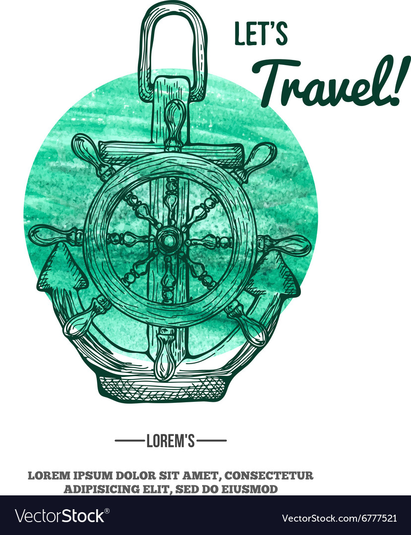 Travel Background Anchor on Watercolor mark