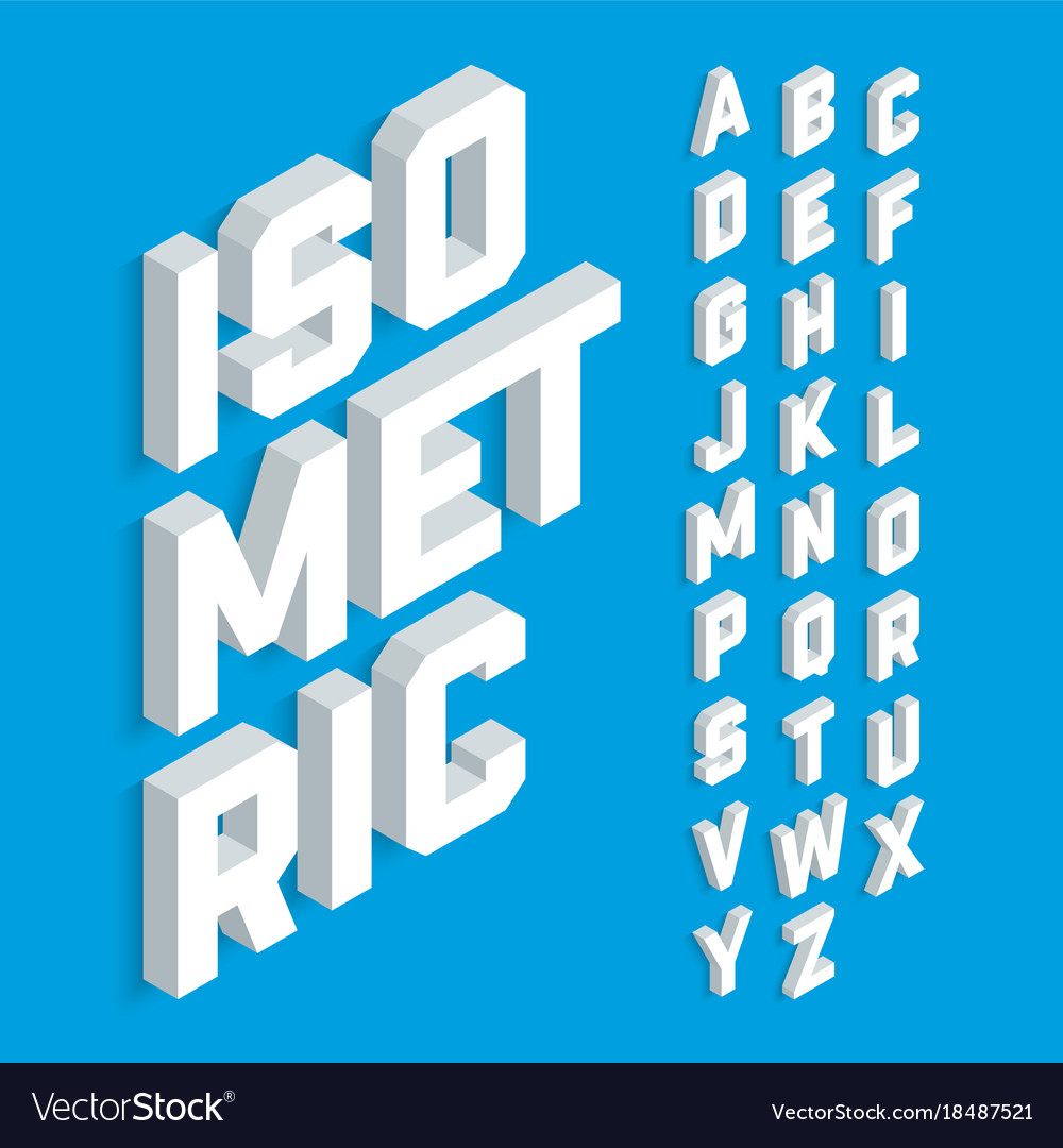 White isometric 3d font three-dimensional