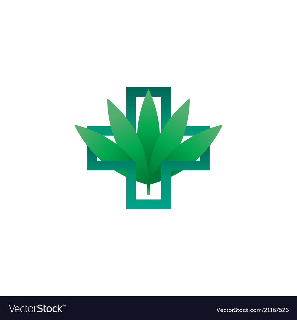 Abstract green health cross outline with