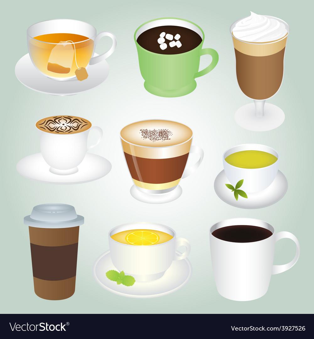 Basic Hot Drinks Set vector image