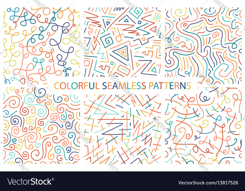 Collection of colorful hand drawn seamless