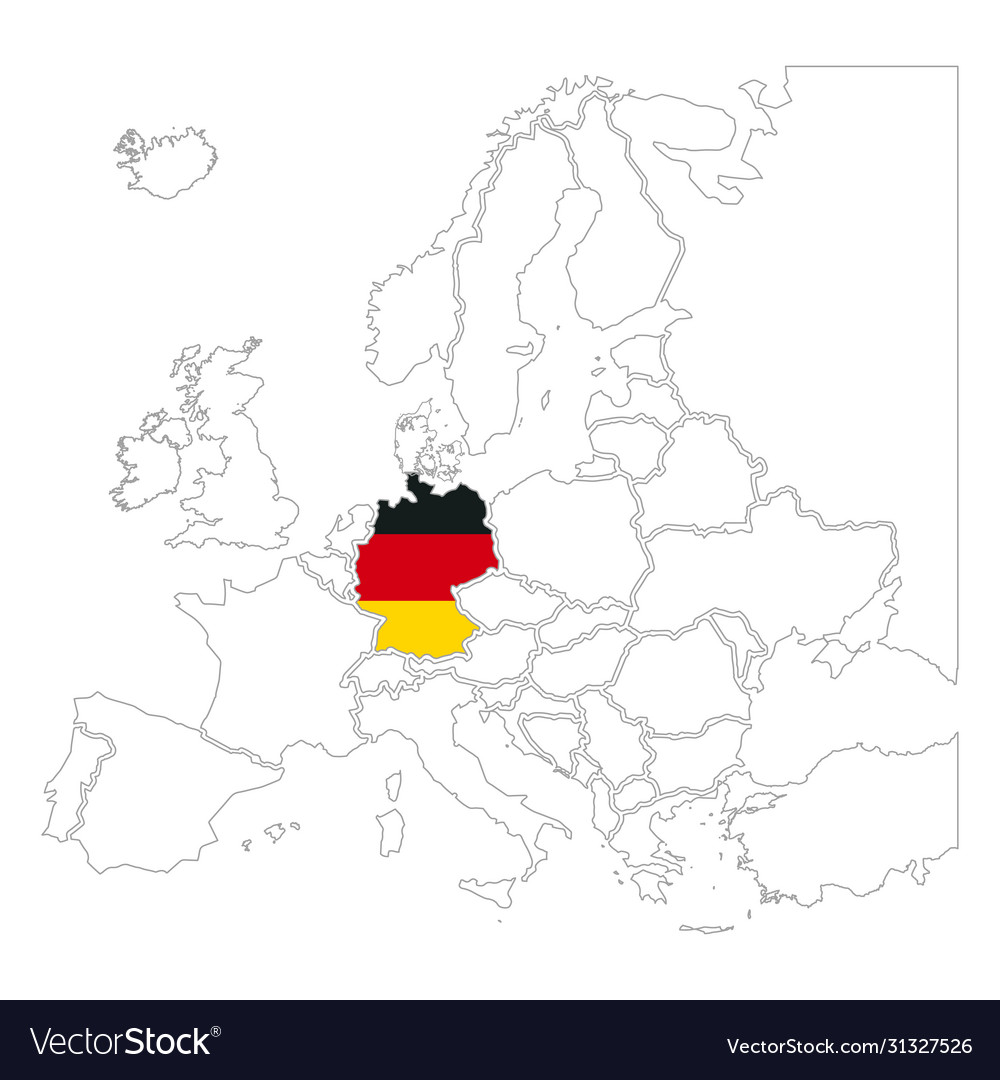 Detailed germany silhouette with national flag on