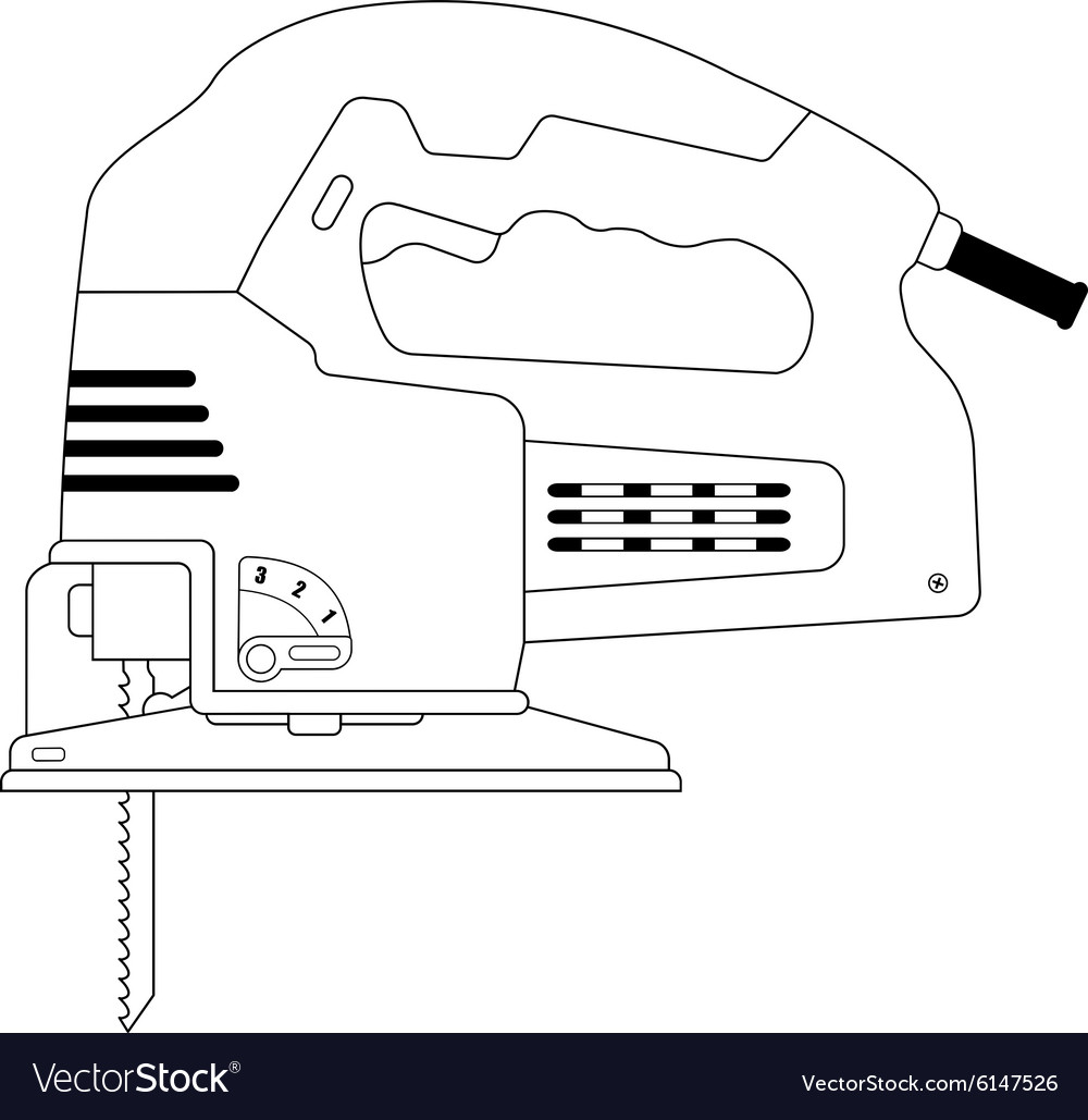 Electric carpentry jig saw tool Contour vector image