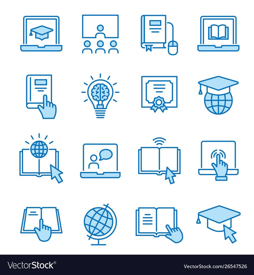 Online education flat line icon set