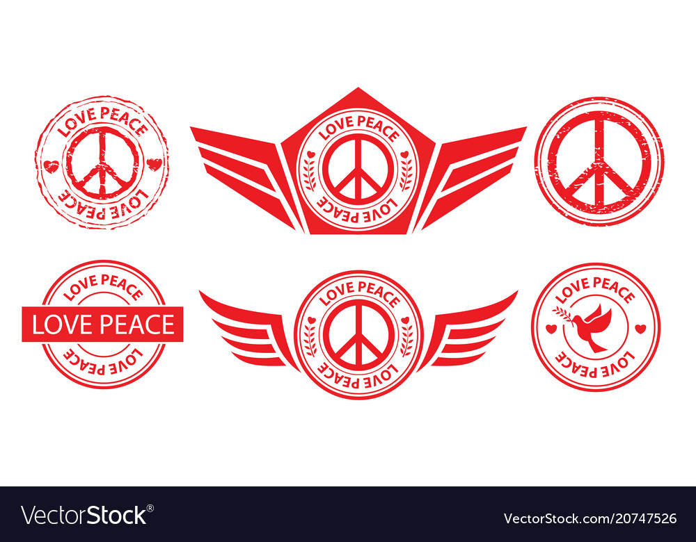 Peace label banner stamp sign vector image