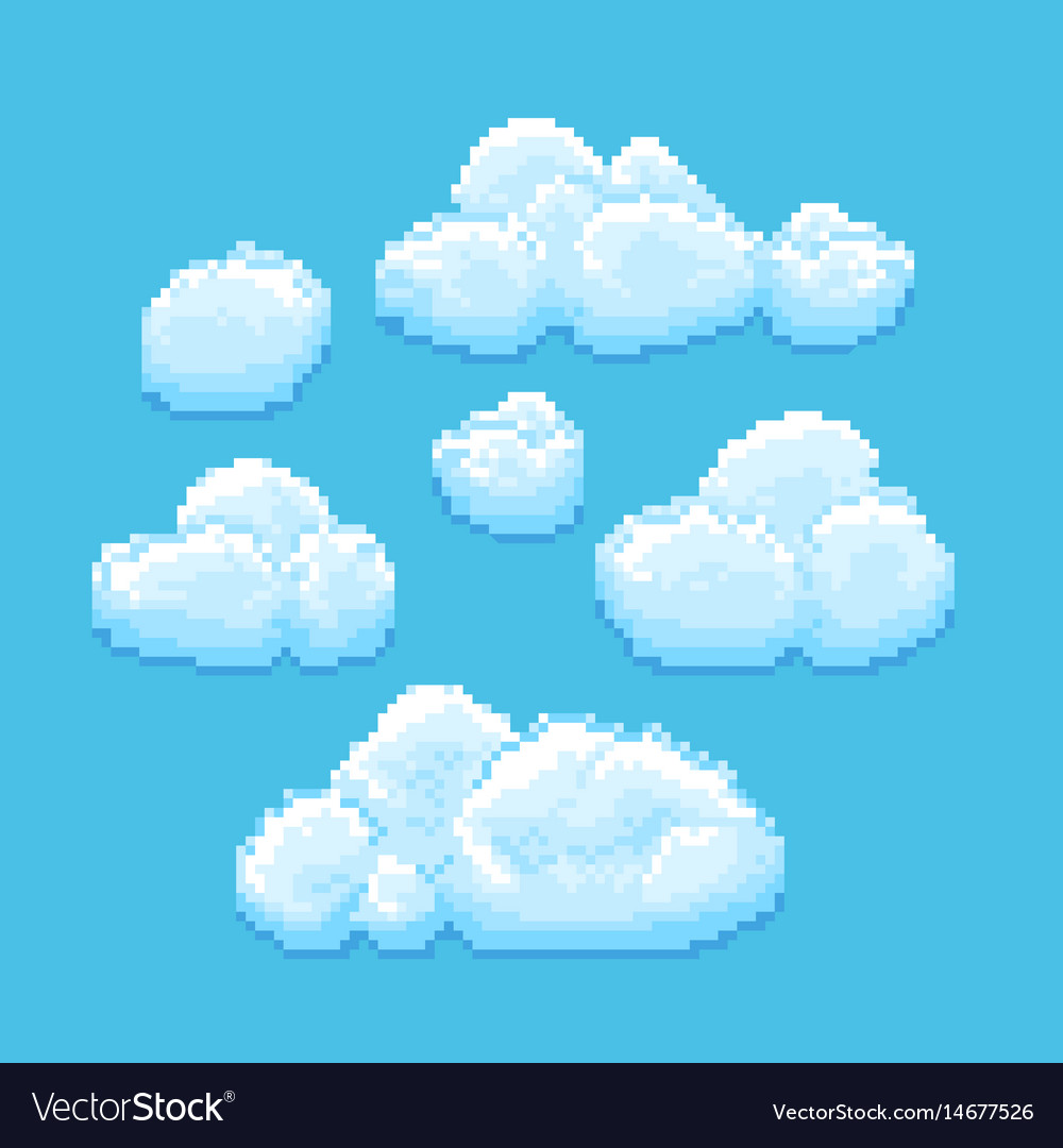 sky with clouds pixel art cloudscape royalty free vector
