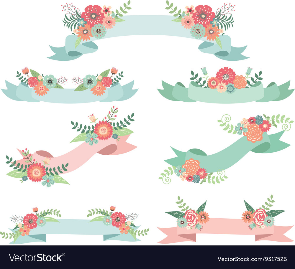 Wedding Flora with Banners vector image