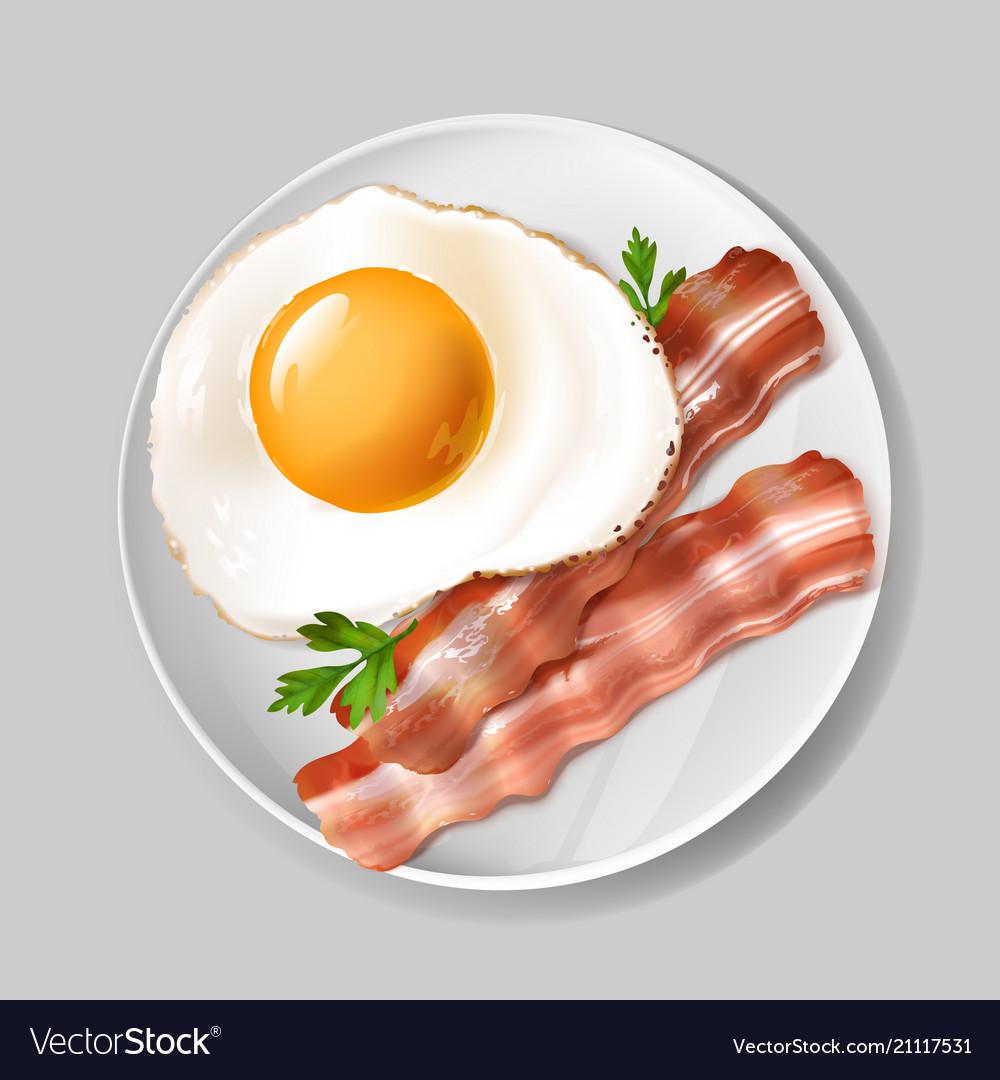 3d realistic english breakfast - bacon egg