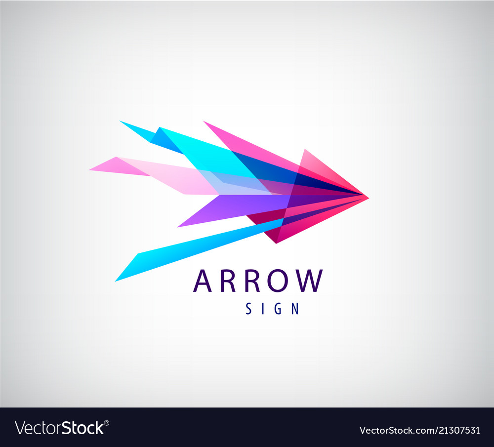 Abstract arrow logo origami faceted icon