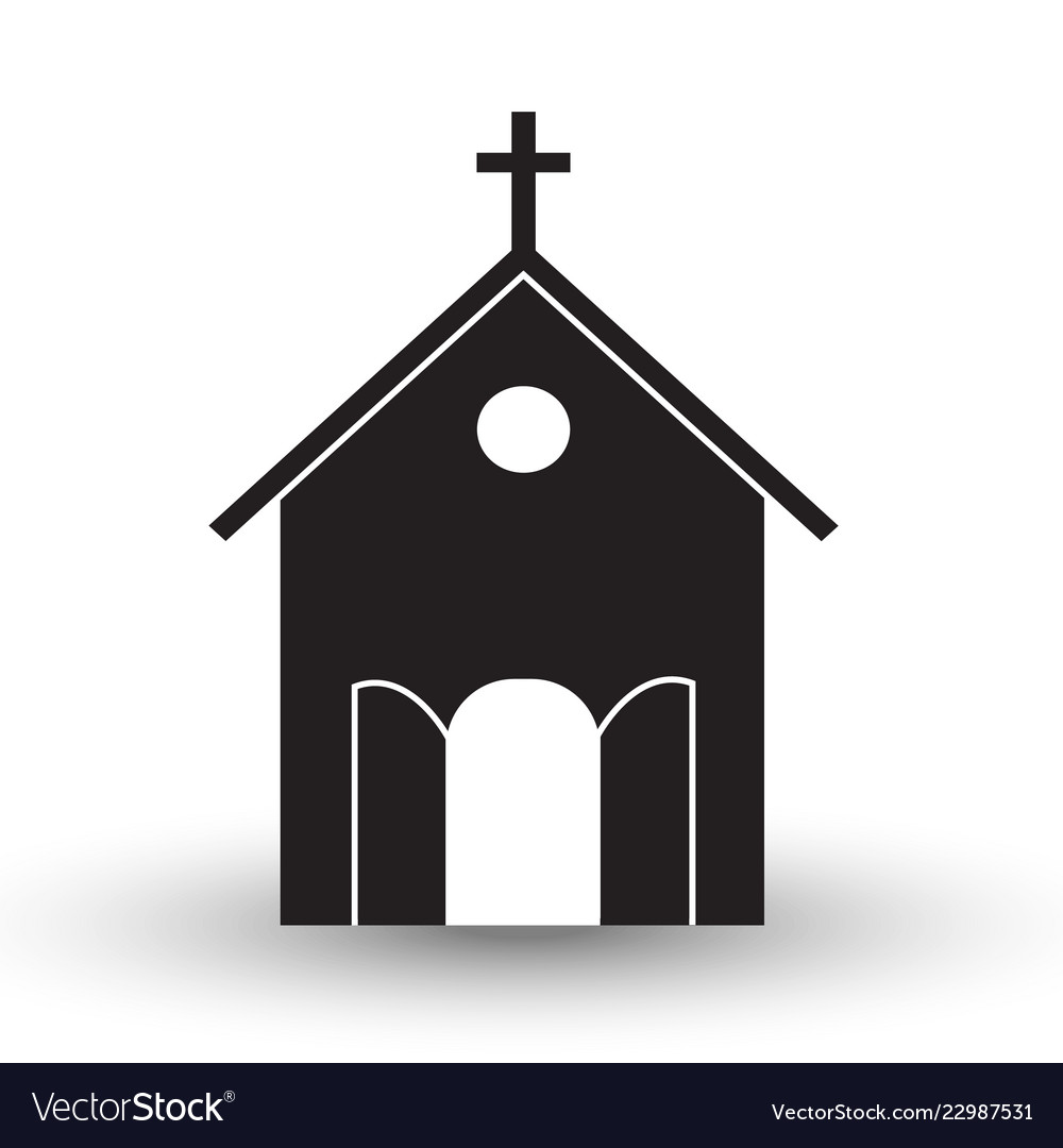 Black and white church icon flat with shadow