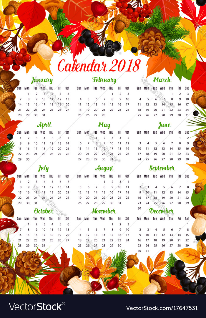 calendar 2018 template with autumn nature frame vector image vectorstock