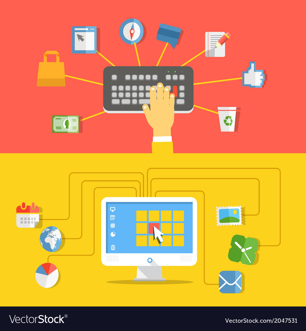 Digital media industry Flat design concept