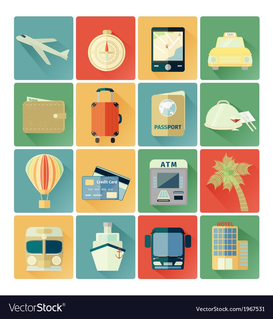 Flat icons travel