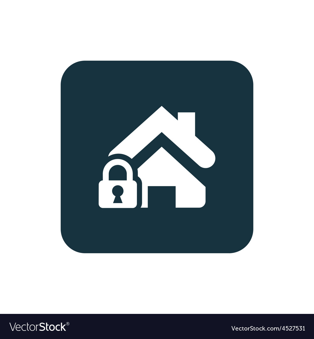Home lock icon Rounded squares button vector image