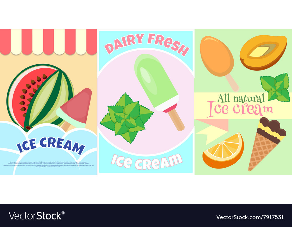 Ice Cream Posters Fruits and Dairy Fresh ice cream vector image