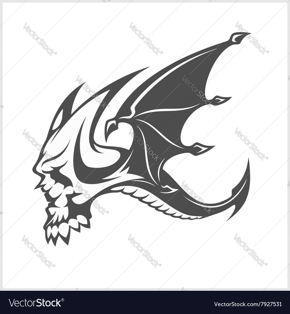 Isolated fantasy black dragon and skull for tattoo vector image
