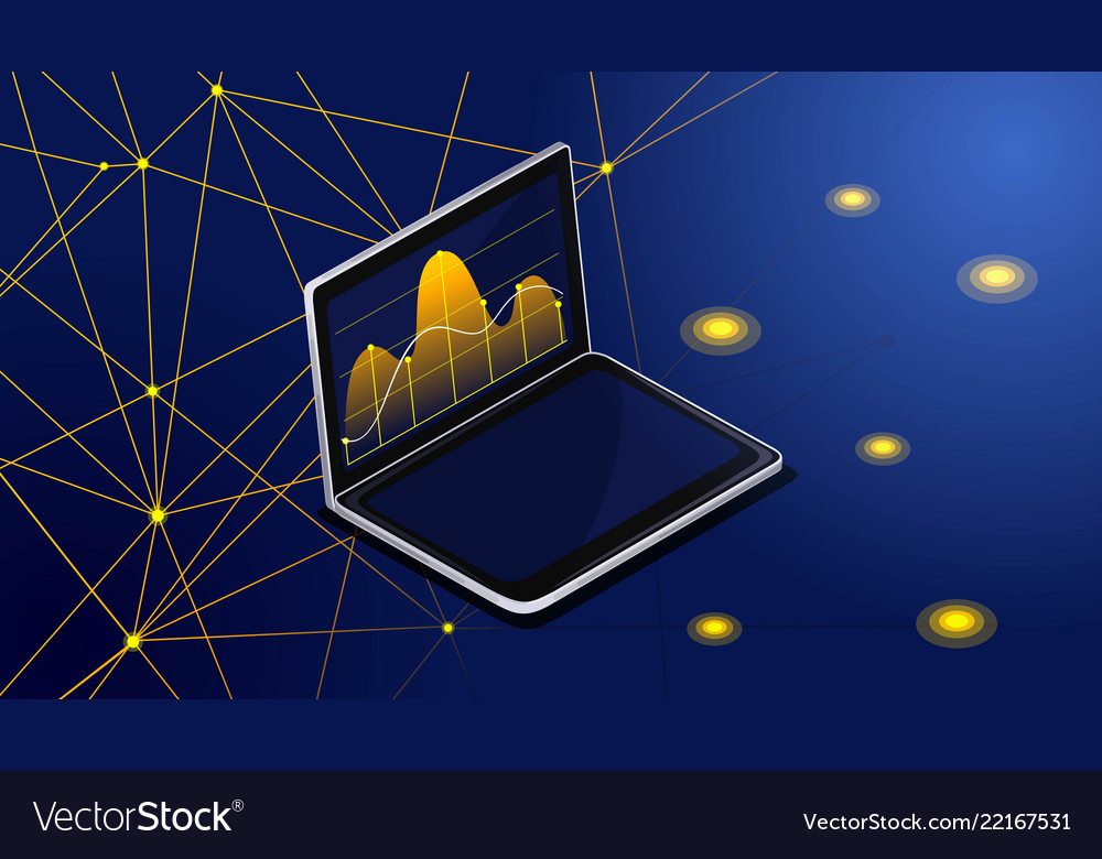 Isometric laptop monitor displays statistics on