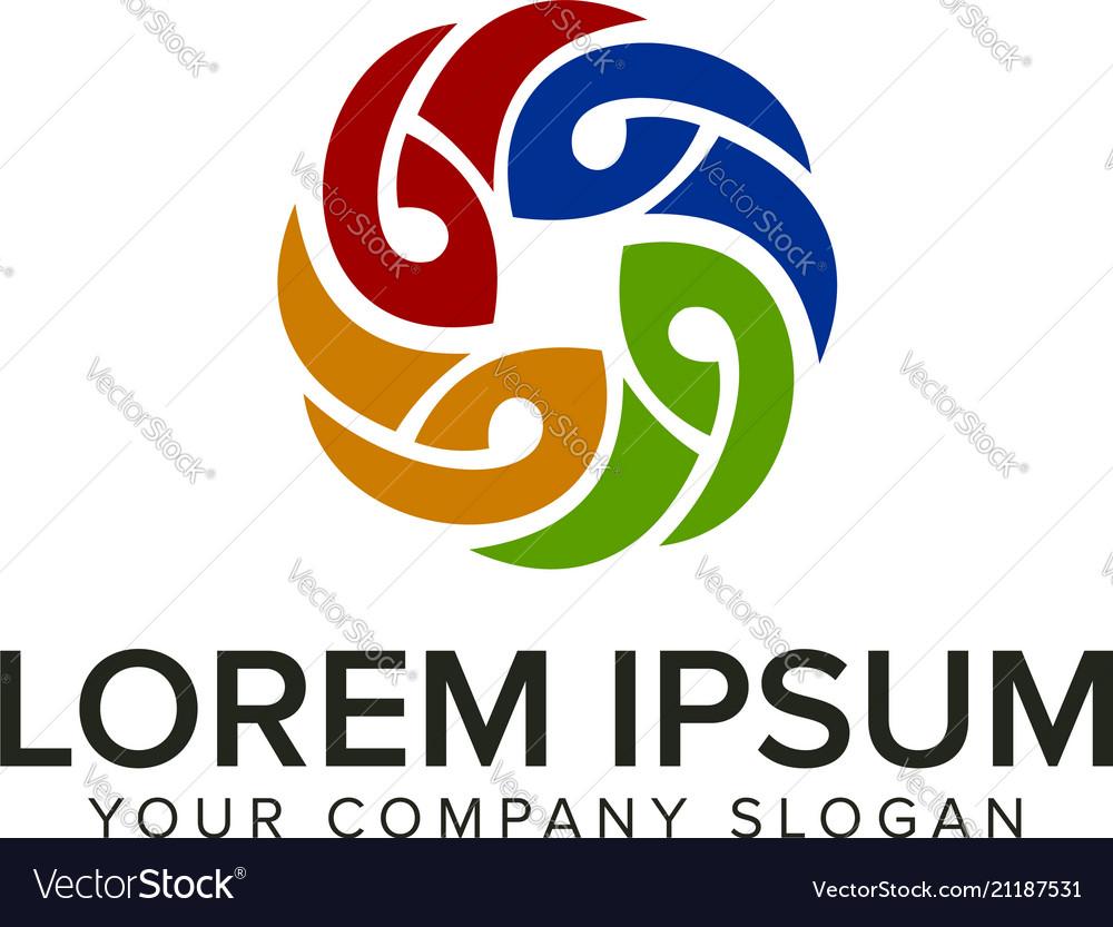 Multicolor flower decoration logo design concept