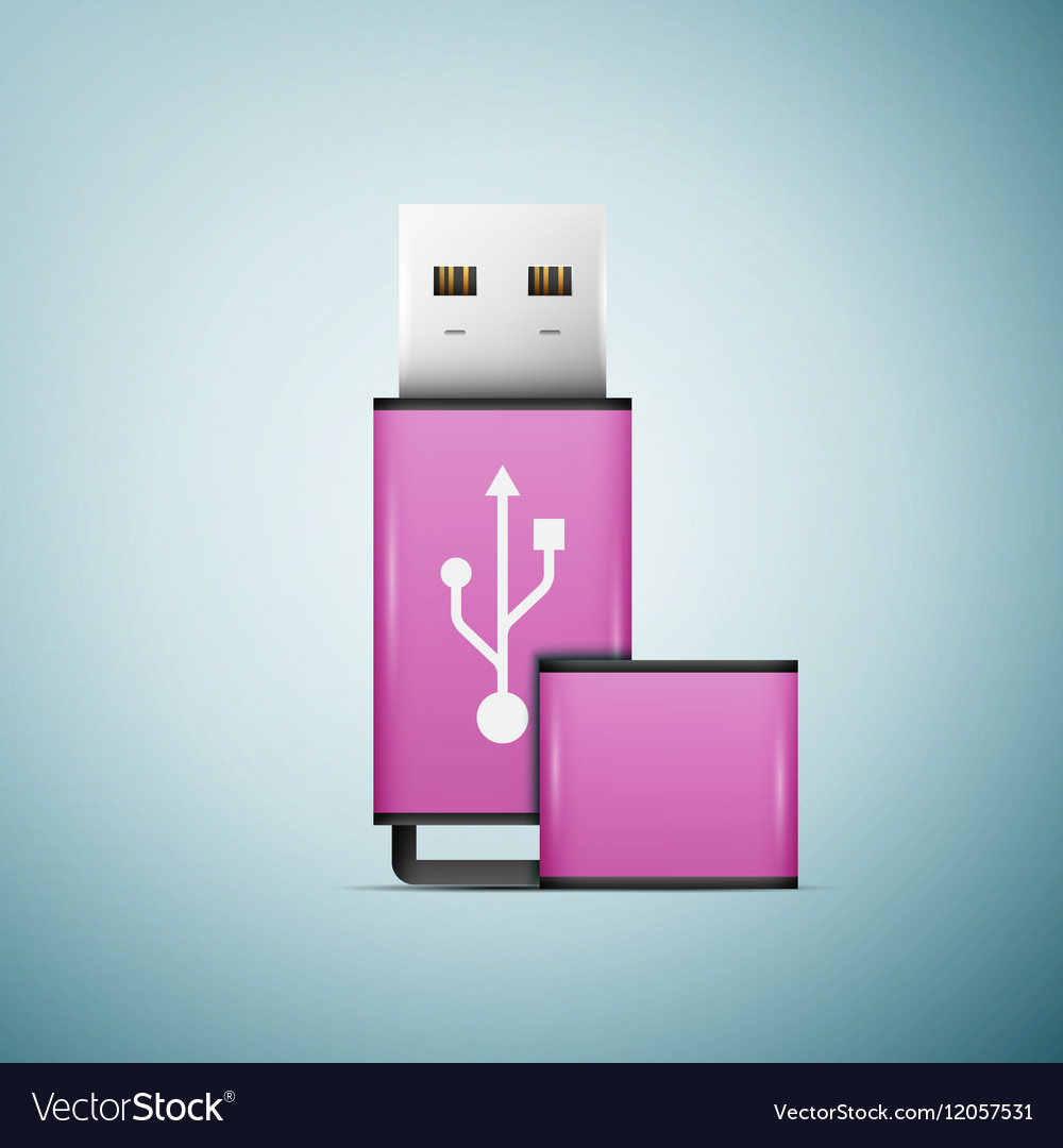 Pink USB flash drive icon isolated on blue