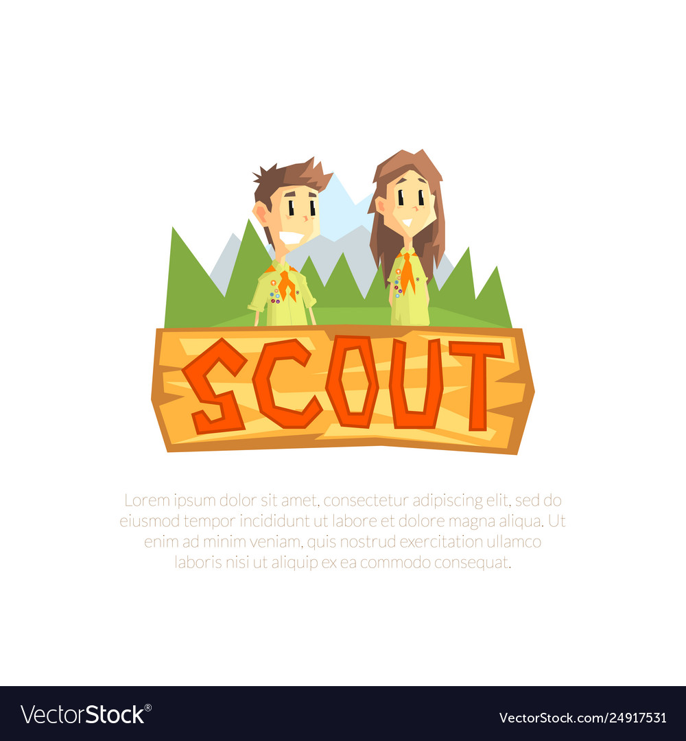 Scout banner template scouting boy and girl
