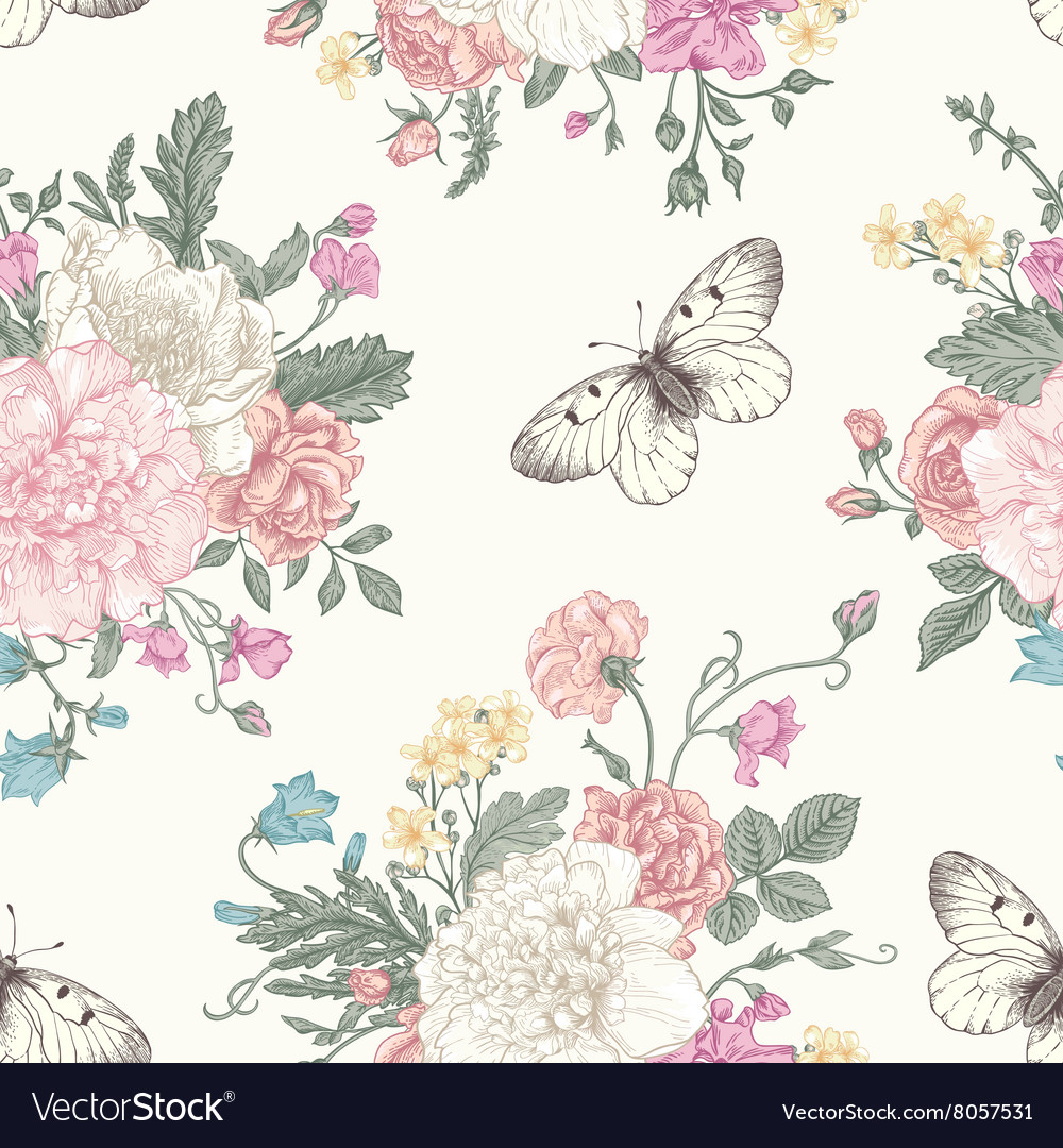 Seamless floral pattern with bouquet