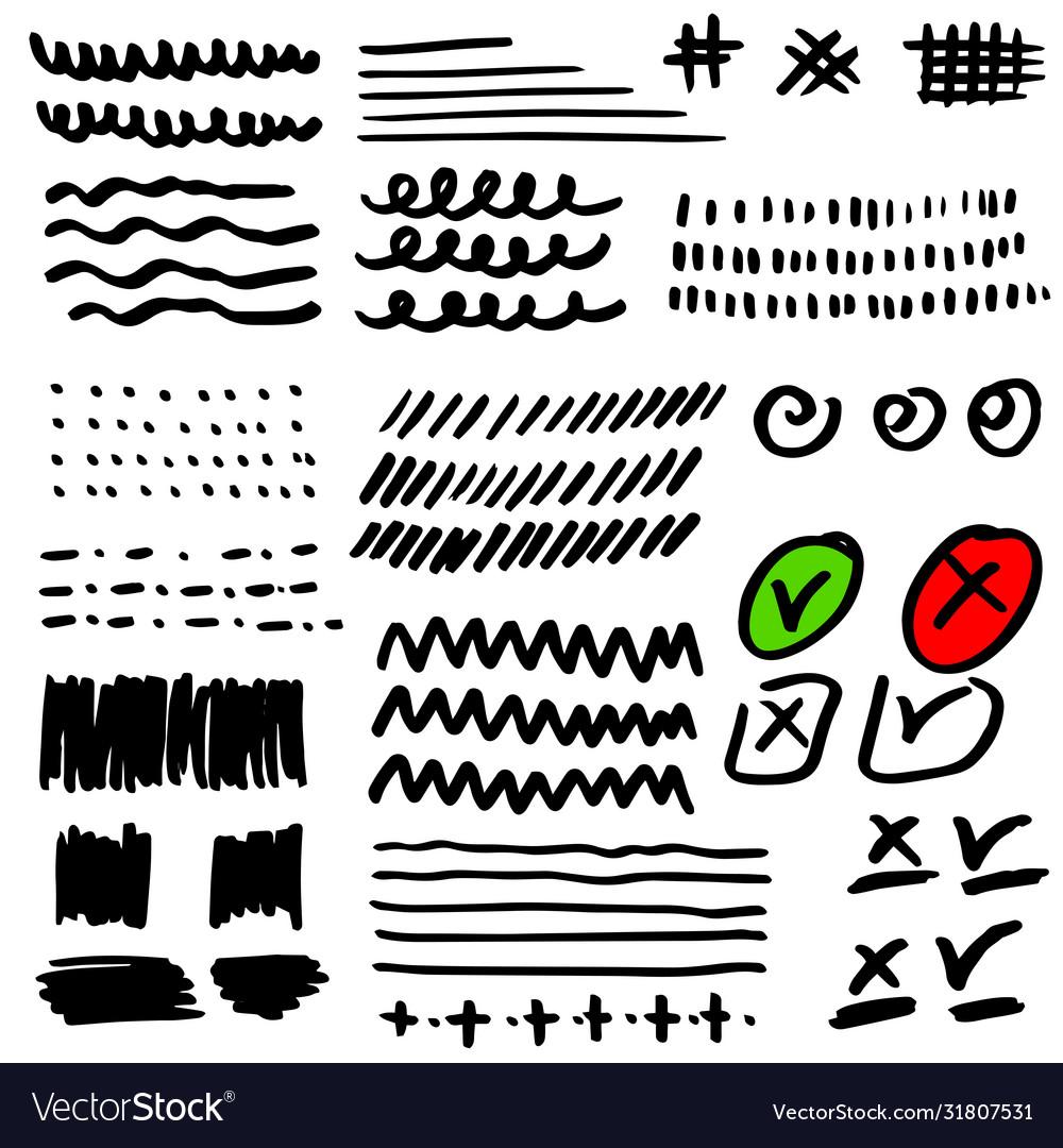 Set hand drawn grunge strokes check marks
