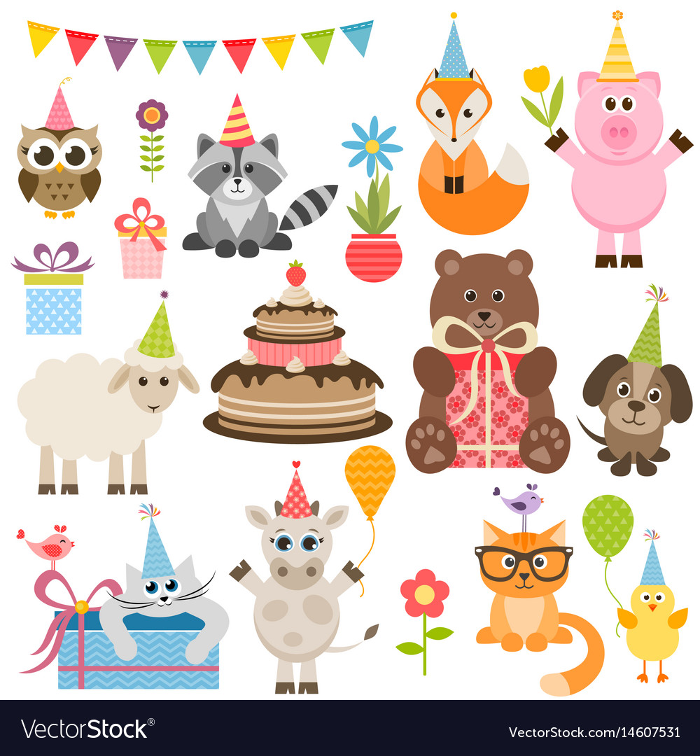 Set of different animals on birthday party