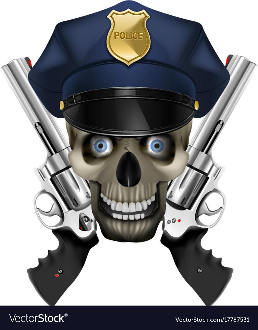 Skull in a police cap and revolver
