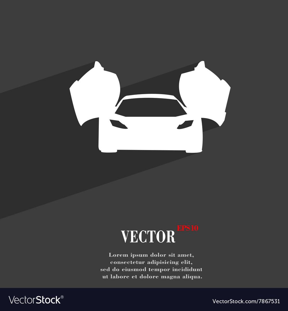 Sports Car Symbol Flat Modern Web Design With Long