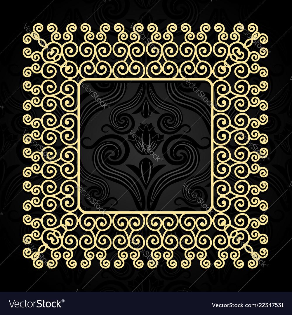 Vintage gold frame with swirls on a dark