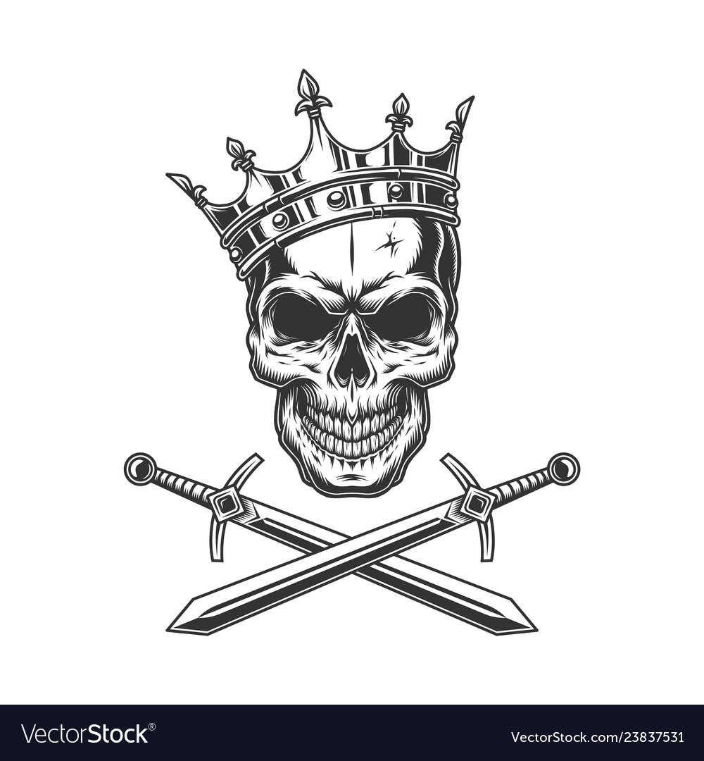 Vintage prince skull in crown