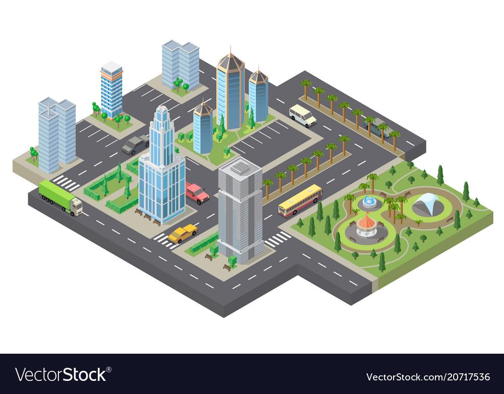 3d isometric megapolis city urban