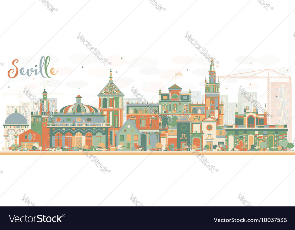 Abstract Seville Skyline with Color Buildings