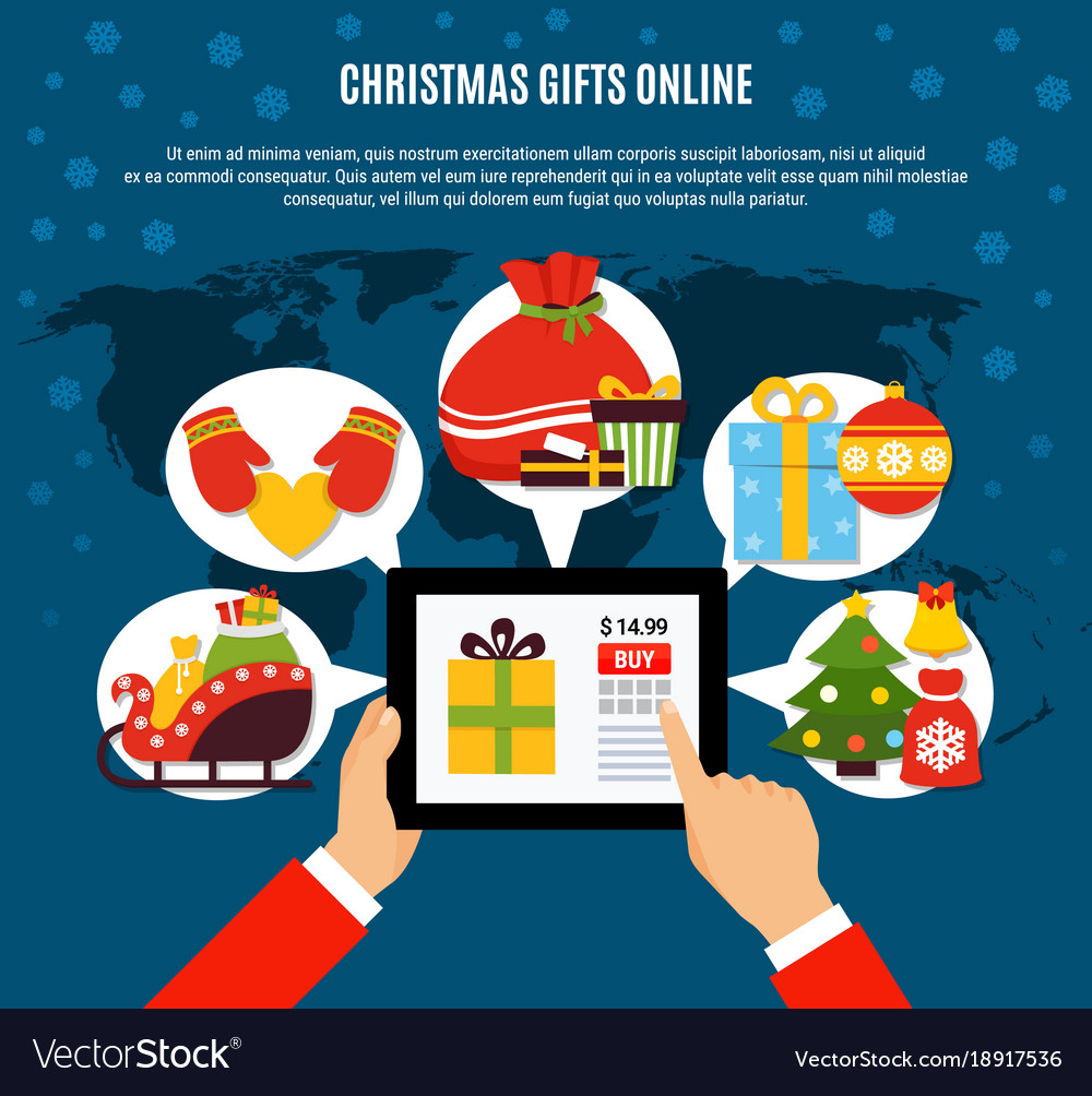 Christmas gifts buying online composition Vector Image