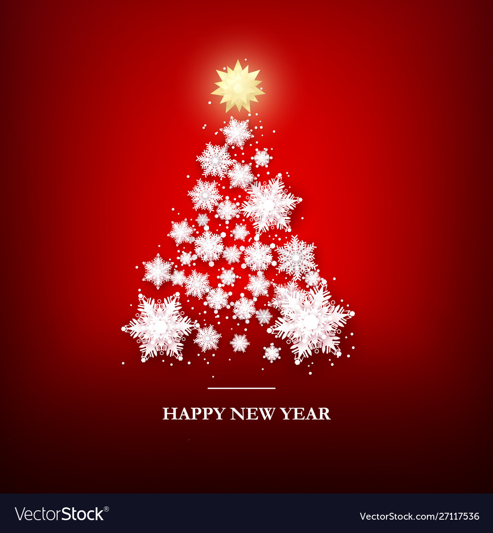 Christmas tree greeting card template new year