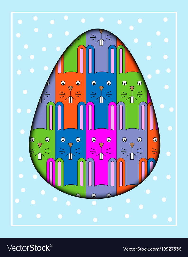 Colorful cartoon rabbit postcard with a funny